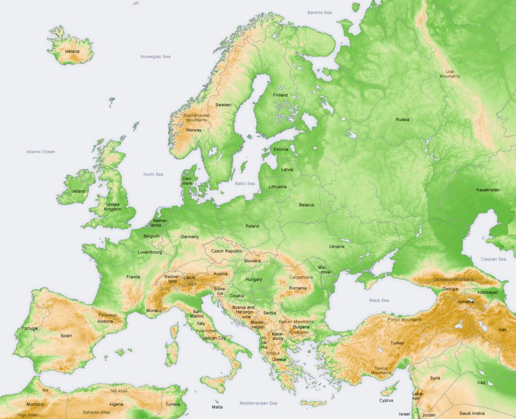 Bergmassieven in Europa (Bron: http://nl.wikipedia.org/wiki/Europa_(werelddeel))