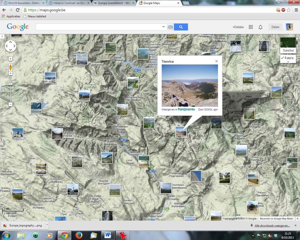 Via Google Maps valt er al veel te ontdekken. Ik kan heel lang turen of reliëfkaarten en via de foto's krijg ik een beeld van het landschap.
