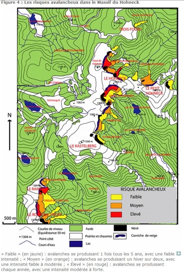 Overzicht lawinegevoelige plaatsen in de Vogezen (bron:  http://rge.revues.org/1533).