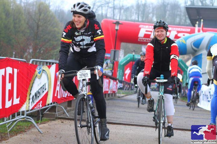 Foto aan de start van de Amstel Gold Race-toertocht van enkele jaren terug.